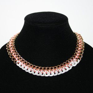 Gold and pink chain link gold tone necklace